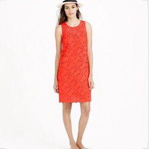 J Crew Orange Laser Cut Floral Shift Dress